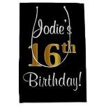 [ Thumbnail: Elegant, Luxurious, Faux Gold Look 16th Birthday Gift Bag ]