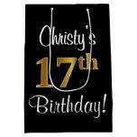 [ Thumbnail: Elegant, Luxurious, Faux Gold Look 17th Birthday Gift Bag ]