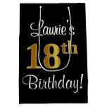 [ Thumbnail: Elegant, Luxurious, Faux Gold Look 18th Birthday Gift Bag ]