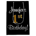 [ Thumbnail: Elegant, Luxurious, Faux Gold Look 1st Birthday Gift Bag ]