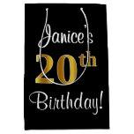 [ Thumbnail: Elegant, Luxurious, Faux Gold Look 20th Birthday Gift Bag ]