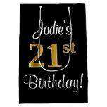 [ Thumbnail: Elegant, Luxurious, Faux Gold Look 21st Birthday Gift Bag ]
