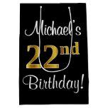 [ Thumbnail: Elegant, Luxurious, Faux Gold Look 22nd Birthday Gift Bag ]