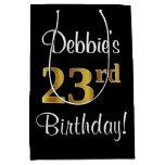 [ Thumbnail: Elegant, Luxurious, Faux Gold Look 23rd Birthday Gift Bag ]