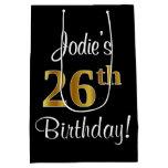 [ Thumbnail: Elegant, Luxurious, Faux Gold Look 26th Birthday Gift Bag ]