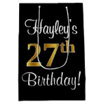 [ Thumbnail: Elegant, Luxurious, Faux Gold Look 27th Birthday Gift Bag ]