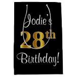 [ Thumbnail: Elegant, Luxurious, Faux Gold Look 28th Birthday Gift Bag ]
