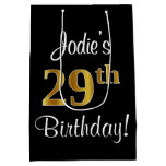 [ Thumbnail: Elegant, Luxurious, Faux Gold Look 29th Birthday Gift Bag ]