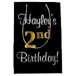 [ Thumbnail: Elegant, Luxurious, Faux Gold Look 2nd Birthday Gift Bag ]