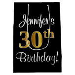 [ Thumbnail: Elegant, Luxurious, Faux Gold Look 30th Birthday Gift Bag ]