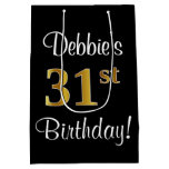 [ Thumbnail: Elegant, Luxurious, Faux Gold Look 31st Birthday Gift Bag ]