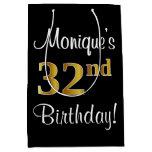 [ Thumbnail: Elegant, Luxurious, Faux Gold Look 32nd Birthday Gift Bag ]