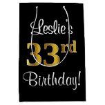 [ Thumbnail: Elegant, Luxurious, Faux Gold Look 33rd Birthday Gift Bag ]