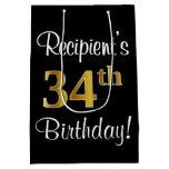 [ Thumbnail: Elegant, Luxurious, Faux Gold Look 34th Birthday Gift Bag ]