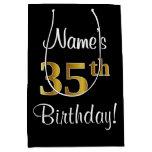 [ Thumbnail: Elegant, Luxurious, Faux Gold Look 35th Birthday Gift Bag ]