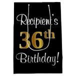 [ Thumbnail: Elegant, Luxurious, Faux Gold Look 36th Birthday Gift Bag ]