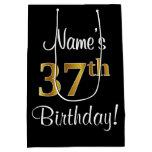 [ Thumbnail: Elegant, Luxurious, Faux Gold Look 37th Birthday Gift Bag ]