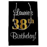 [ Thumbnail: Elegant, Luxurious, Faux Gold Look 38th Birthday Gift Bag ]