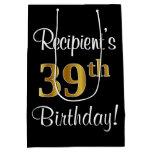 [ Thumbnail: Elegant, Luxurious, Faux Gold Look 39th Birthday Gift Bag ]