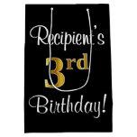 [ Thumbnail: Elegant, Luxurious, Faux Gold Look 3rd Birthday Gift Bag ]