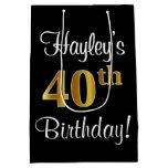 [ Thumbnail: Elegant, Luxurious, Faux Gold Look 40th Birthday Gift Bag ]