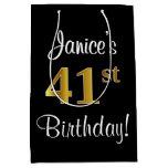 [ Thumbnail: Elegant, Luxurious, Faux Gold Look 41st Birthday Gift Bag ]