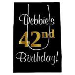 [ Thumbnail: Elegant, Luxurious, Faux Gold Look 42nd Birthday Gift Bag ]