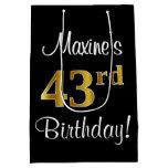 [ Thumbnail: Elegant, Luxurious, Faux Gold Look 43rd Birthday Gift Bag ]