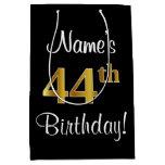 [ Thumbnail: Elegant, Luxurious, Faux Gold Look 44th Birthday Gift Bag ]