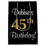 [ Thumbnail: Elegant, Luxurious, Faux Gold Look 45th Birthday Gift Bag ]
