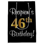 [ Thumbnail: Elegant, Luxurious, Faux Gold Look 46th Birthday Gift Bag ]