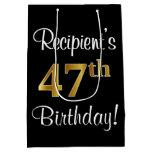 [ Thumbnail: Elegant, Luxurious, Faux Gold Look 47th Birthday Gift Bag ]