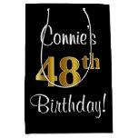 [ Thumbnail: Elegant, Luxurious, Faux Gold Look 48th Birthday Gift Bag ]