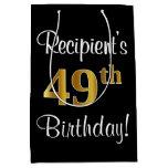 [ Thumbnail: Elegant, Luxurious, Faux Gold Look 49th Birthday Gift Bag ]