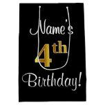 [ Thumbnail: Elegant, Luxurious, Faux Gold Look 4th Birthday Gift Bag ]