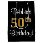 [ Thumbnail: Elegant, Luxurious, Faux Gold Look 50th Birthday Gift Bag ]