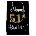 [ Thumbnail: Elegant, Luxurious, Faux Gold Look 51st Birthday Gift Bag ]
