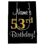 [ Thumbnail: Elegant, Luxurious, Faux Gold Look 53rd Birthday Gift Bag ]