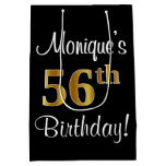 [ Thumbnail: Elegant, Luxurious, Faux Gold Look 56th Birthday Gift Bag ]