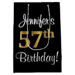 [ Thumbnail: Elegant, Luxurious, Faux Gold Look 57th Birthday Gift Bag ]