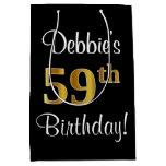 [ Thumbnail: Elegant, Luxurious, Faux Gold Look 59th Birthday Gift Bag ]