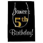 [ Thumbnail: Elegant, Luxurious, Faux Gold Look 5th Birthday Gift Bag ]
