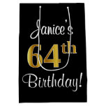 [ Thumbnail: Elegant, Luxurious, Faux Gold Look 64th Birthday Gift Bag ]