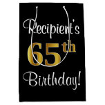 [ Thumbnail: Elegant, Luxurious, Faux Gold Look 65th Birthday Gift Bag ]