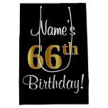 [ Thumbnail: Elegant, Luxurious, Faux Gold Look 66th Birthday Gift Bag ]