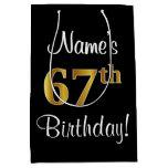 [ Thumbnail: Elegant, Luxurious, Faux Gold Look 67th Birthday Gift Bag ]