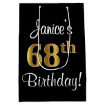 [ Thumbnail: Elegant, Luxurious, Faux Gold Look 68th Birthday Gift Bag ]
