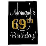 [ Thumbnail: Elegant, Luxurious, Faux Gold Look 69th Birthday Gift Bag ]