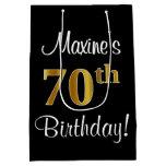 [ Thumbnail: Elegant, Luxurious, Faux Gold Look 70th Birthday Gift Bag ]
