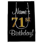 [ Thumbnail: Elegant, Luxurious, Faux Gold Look 71st Birthday Gift Bag ]